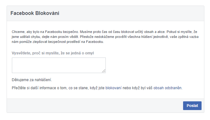 Facebook zablokoval moji URL adresu: Formulář Facebook Blocks
